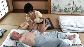 Horny asian milf goes crazy jerking part1
