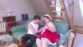 Fat granny gets naked for a shag with a handsome lover