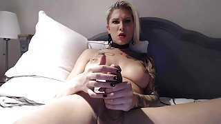 Beautiful Blonde TS Playing With Her Hot Cock (HD)
