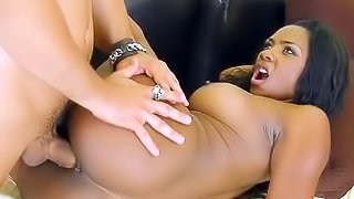Black girl in sexy tights strips and fucks