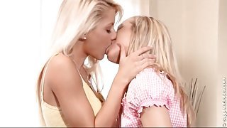 Blonde teen lesbian foreplay with hot kissing