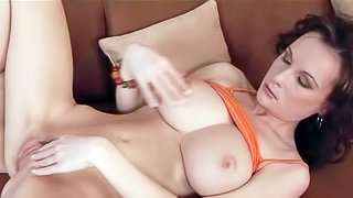 Missy Preston is a nice looking European brunette with juicy boobs and sexy trimmed pussy. She spreads her legs and rubs her snatch hard with her fingers. She masturbates non-stop for the camera