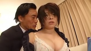 Randy Asian hooker with big tits gets her hairy pussy  fucked