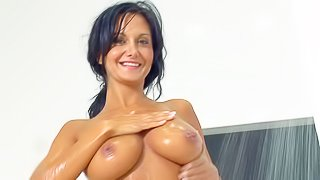 Perfect bodied French mommy Ava Addams with big tits and round ass shows her assets as she takes a shower after giving tugjob under the open sky. Busty hot-ass woman shows it all and fingers her twat