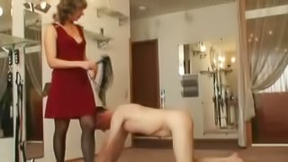 Dominant beauty has total control over her male sub