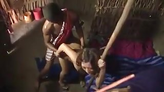 Japanese girl amazed black dick in African tribe