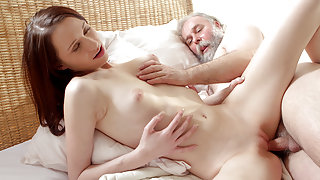TrickyOldTeacher - Tricky old grey bearded teacher fucked his innocent but naughty College student