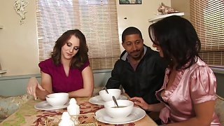 Lucky black dude gets involved in interracial threesome with mom and daughter