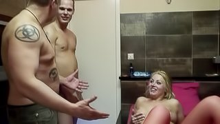 Anal in the hotel room with a naughty blonde hooker in stockings