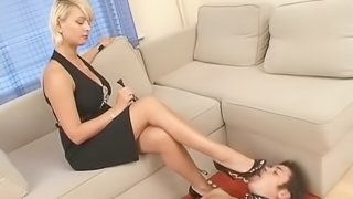High heel licking submissive does everything she commands
