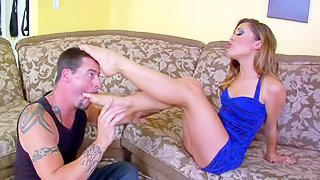 Attractive brunette Kristina Rose with delicious ass and long legs in short tight dress and thong gets her feet sucked by tattooed Jack Vegas while playing with him in living room