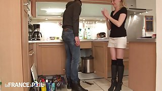 SLIM FRENCH MILF ANGIE PAYS THE PLUMBER