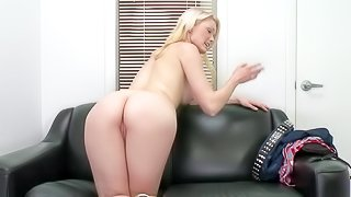 Young looking adorable steaming hot blonde goddess Zoey Page with natural boobs and soft milky skin takes off tight jeans and teases with her firm ass before she demonstrates her oral skills