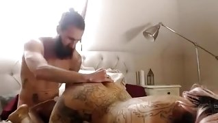 Hot tattooed bitch takes it in the pooper